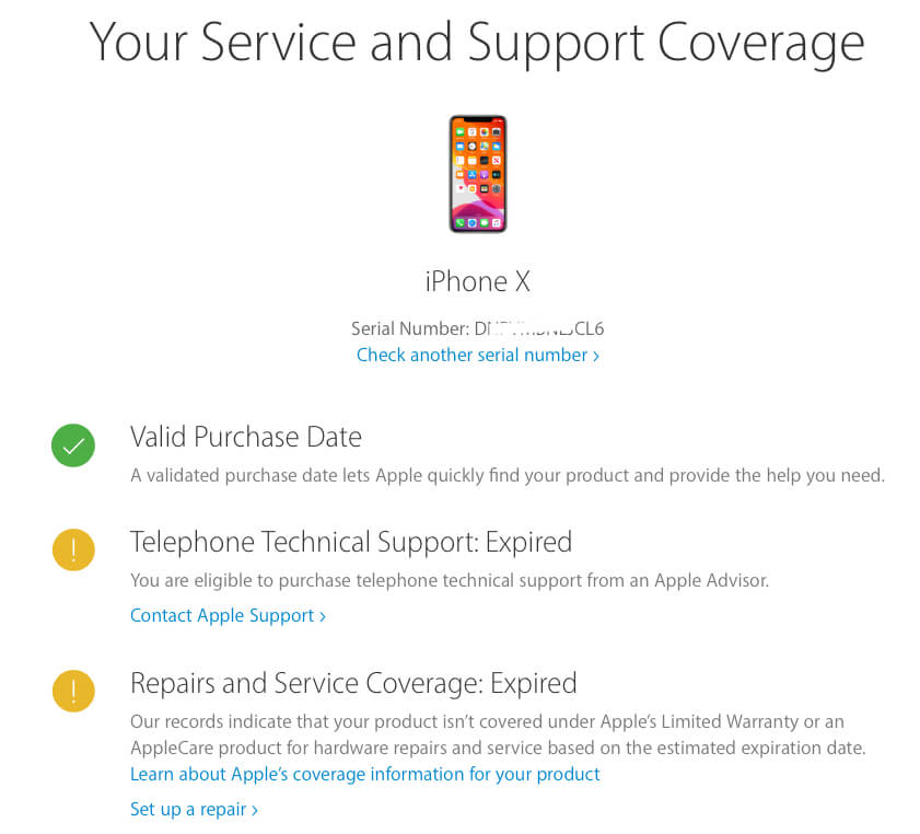 Know Warranty Status but not Purchase Date of Apple Device - Case 2