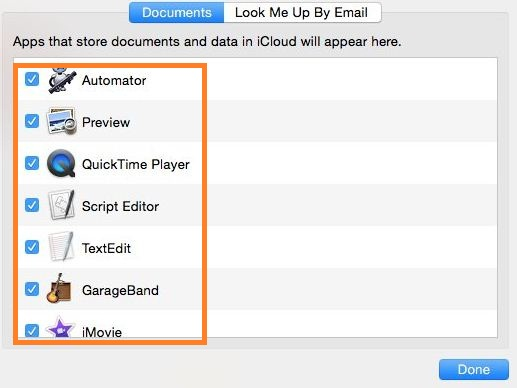 Enable or Disable apps use iCloud on Mac