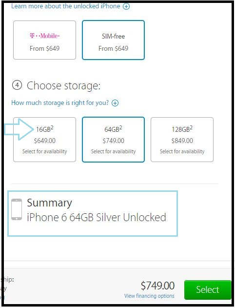 Verify that you have select correctly buy unlock iPhone 6