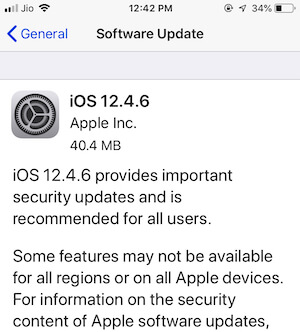 Software update on iPhone
