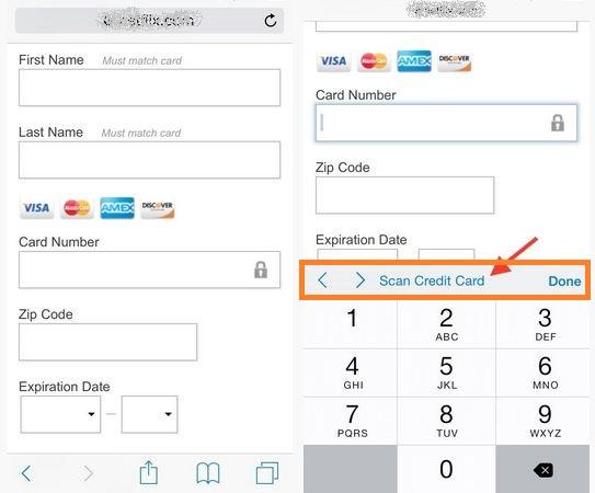 Scan credit card from safari browser