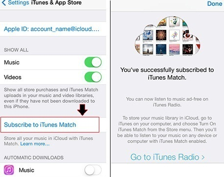 subscribe iTunes Match using iPhone how to
