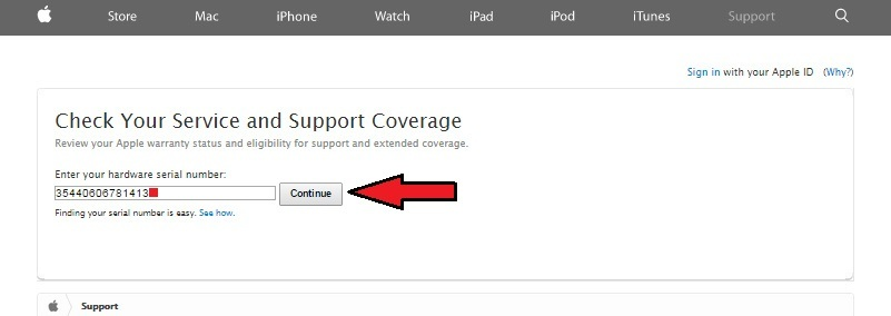 enter serial number of apple product to check online warranty status