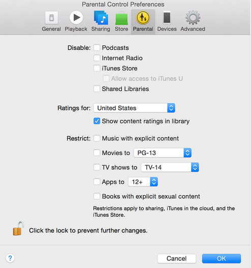 use Parental Control in iTunes 12 or 11
