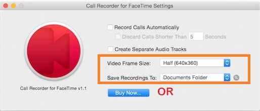 Ecamm setup settings for call record in Mac