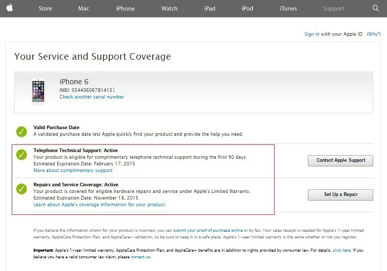 apple iphone warranty check check purchase date of apple device warranty status 13484