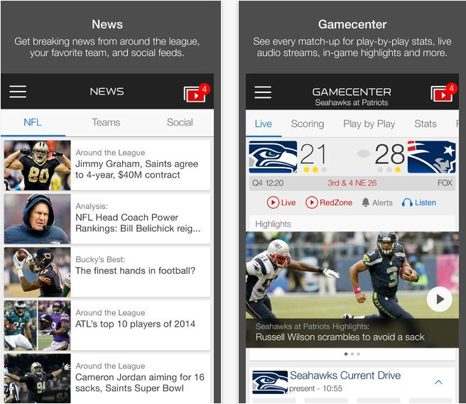 official NFL app for iPhone, iPad