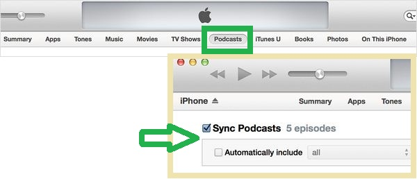 Enable Sycn podcast in iTUnes when you want sync