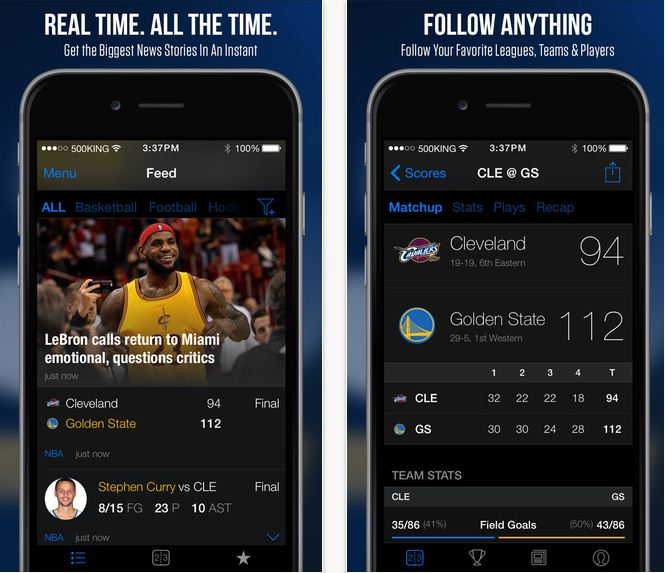 theScore iPhone app for NFL updates
