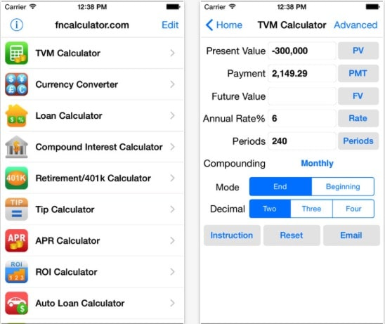 3 EZ Financial Calculators iOS app for Financial Calculator iPhone