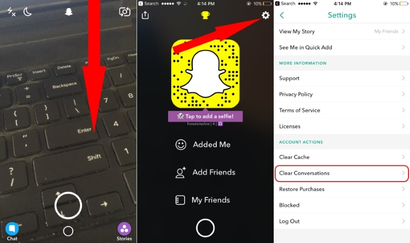 Clear conversaions and settings options in snapchat account