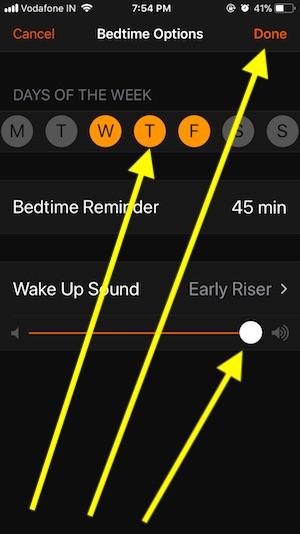 Bedtime Settings in clock app