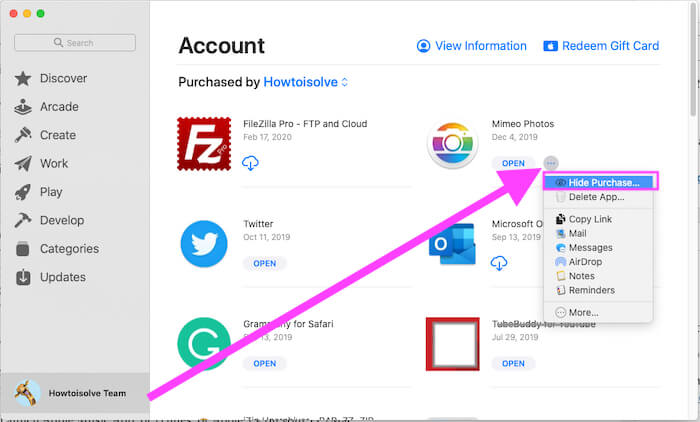 Hide Purchase on Mac from App Store