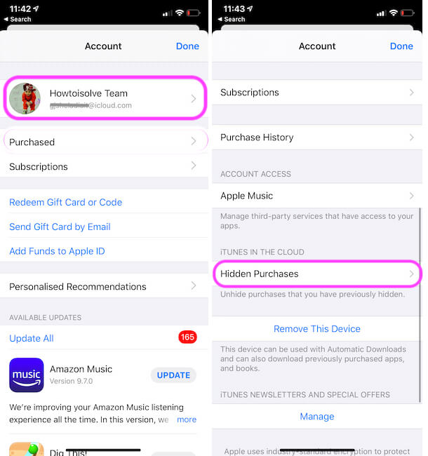 Manage Hidden Purchased on iPhone app store