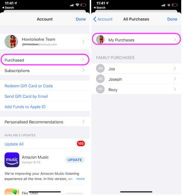 Управление списком приобретенных приложений на iPhone из магазина приложений