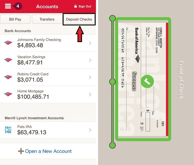 Mobile Deposit Checks Bank of America on iPhone app how to