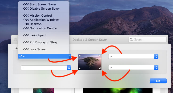 Select Action for Hot Corners on Mac