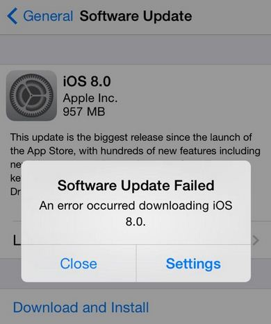 An error occurred while downloading iOS 8.1 in iPhone, iPad and iPod touch