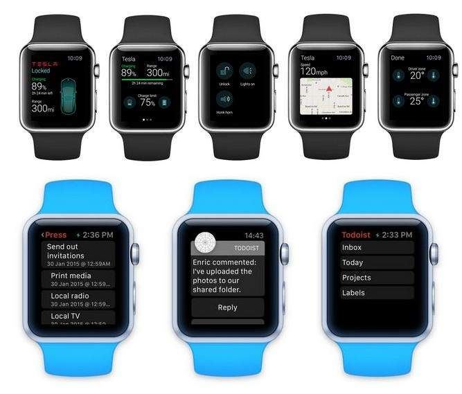 App for Apple Watch: Tesla and Todoist app