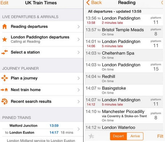 free train app for iPhone UK