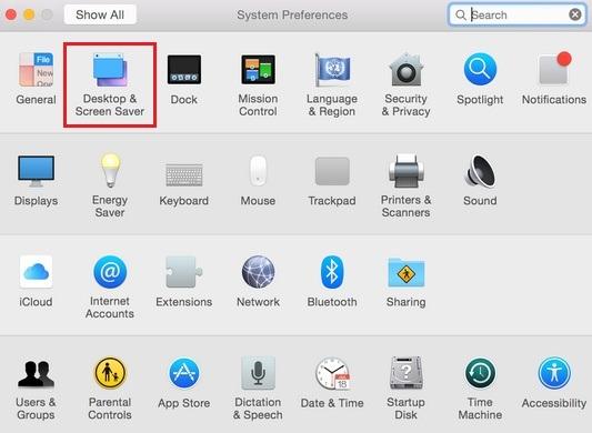 Click on Desktop & Screen Saver to set Screen saver on Mac OS X 10.10