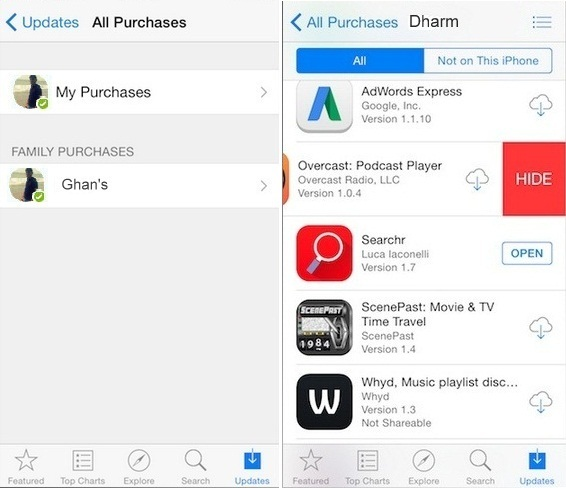 Hide Purchase apps on iPhone or iPad how to