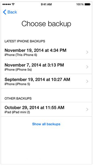 List of backup on iPhone inside iCloud