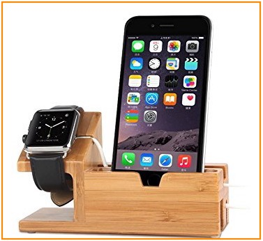 2 Wood charging apple wath stand