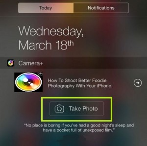 How to set/ open iPhone camera from Notification center: iOS 8
