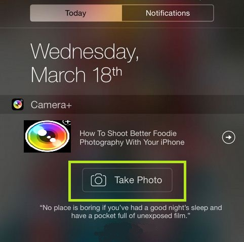 Open iPhone camera from Notification center, iPad, iPod on iOS 8, iOS 7