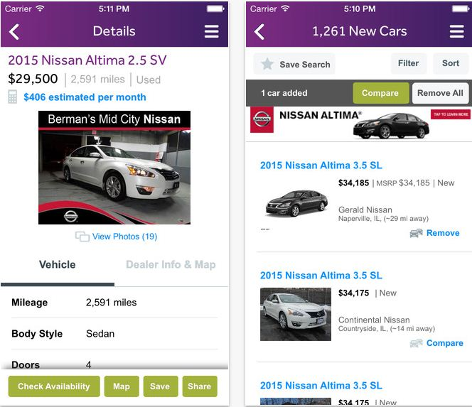 Online Car trading apps for iPhone by cars.com