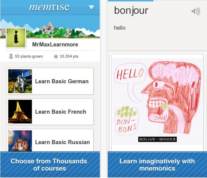 Memrise iPhone app running on iOS 8, iOS 7