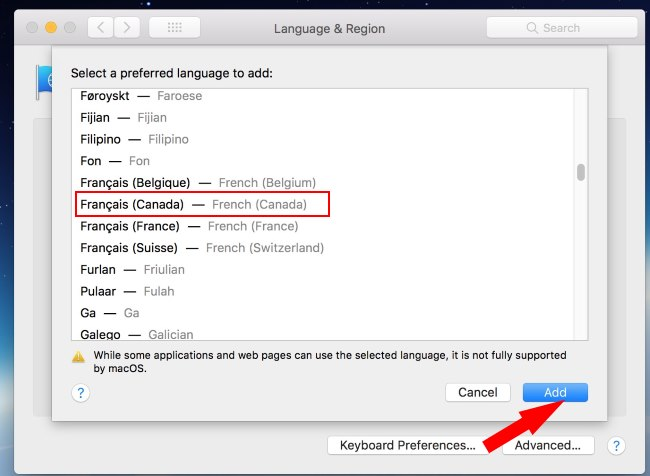 2 Select Language for Add on Mac