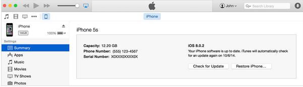 Using iTunes find IMEI and Serial Number