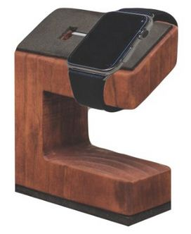 Fully wooden Apple watch dock stand