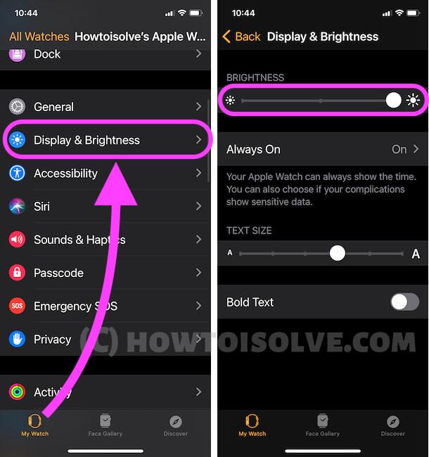 Дисплей и яркость в приложении Watch на iPhone для изменения