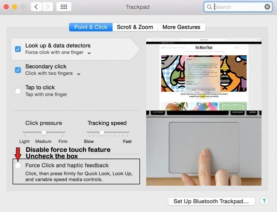 Change force touch trackpad settings on MacBook Retina display  2015
