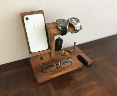Multipurpose Wooden Docking Station from Etsy