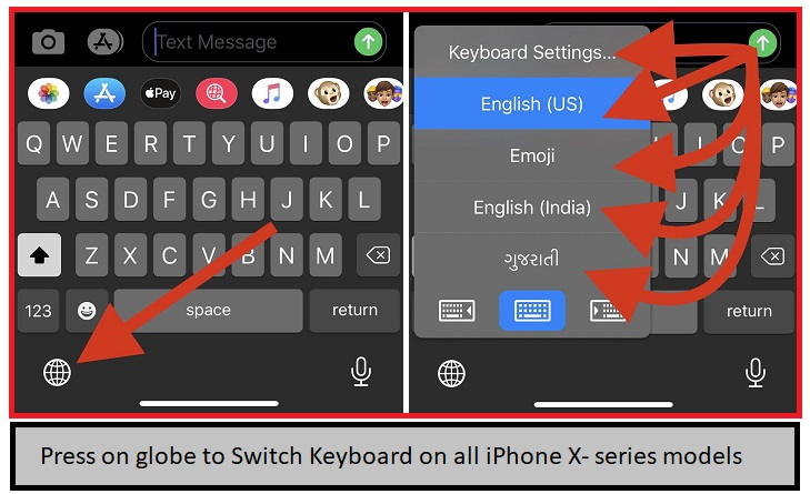 Press on globe to switch keyboard on All iPhone x iPhone XR iPhone XS Max iPhone 11 pro Max models