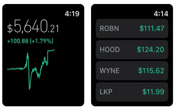 Robinhood Stock App for Apple Watch, iPhone