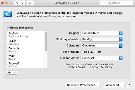 How to change language on Mac OS X Yosemite