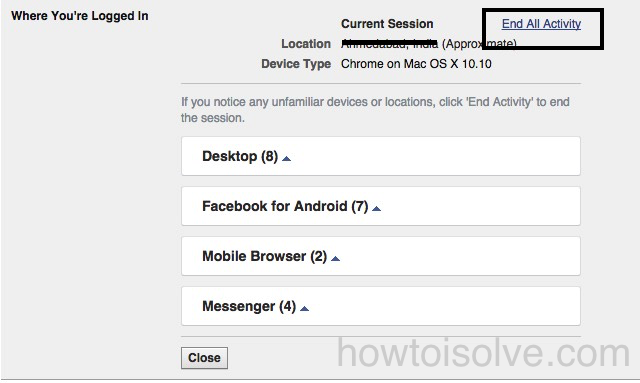 Remotely logout Facebook from iPhone, iPad