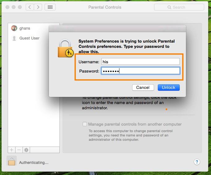 enter valid login details for change settings