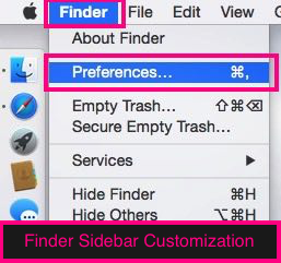 Customize finder sidebar