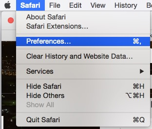 Safari preference on Mac OS X