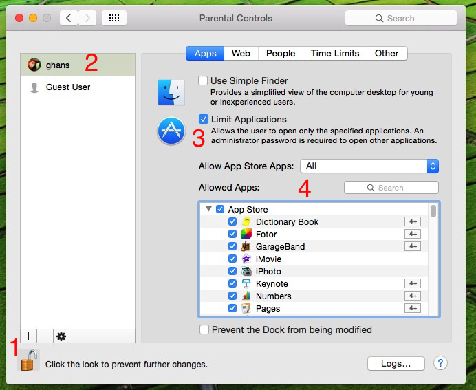 apply restriction on use installed Mac apps in OS X Yosemite