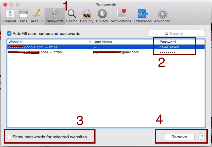 remove saved password in Safari Mac OS X Yosemite, Mavericks