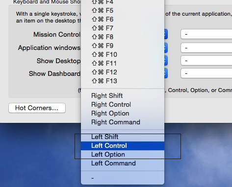 Set own mission control shortcuts