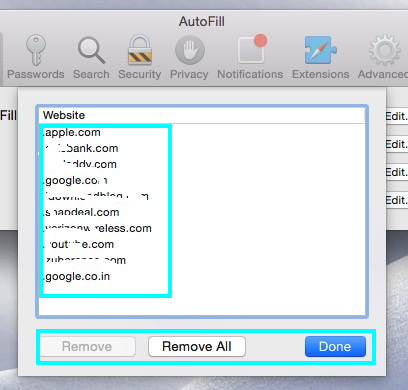 autofilled webforms settings on Safari OS X Yosemite, Mavericks