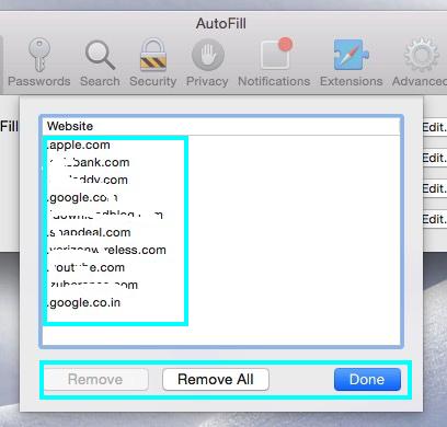 autofilled webforms settings on Safari OS X Yosemite, Mavericks